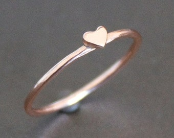 Heart Ring Solid 10K Rose Gold Band with Small Heart - PROMISE RING