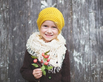 Kids Slouchy Hat in Yellow Merino - Crochet Hat for Girls, Boy's Hat, Hipster Beanie, 12 Months to 4T (Reese)
