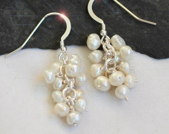Ocean Snowballs - Freshwater Pearl and Sterling Silver Earrings