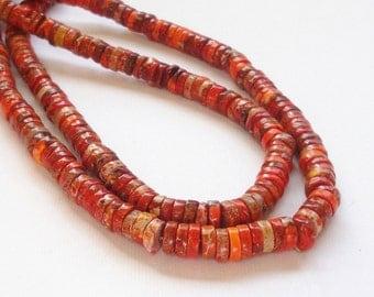 "Orange Jasper Disc Heishi - Small Orange Brown Variscite - Tube Column Gemstone Beads - 7mmx3mm - 16"" Strand - Diy Fall Jewelry Making"
