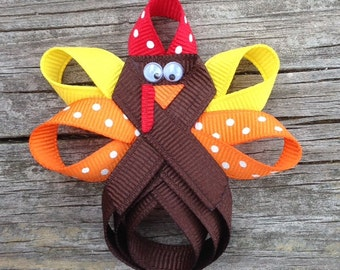 Turkey Hair Clip, Thanksgiving Hair Clip, Turkey Hair Bow, Holiday Hair Clip, Brown Turkey Ribbon Hair Clip, Girls Hair Accessories