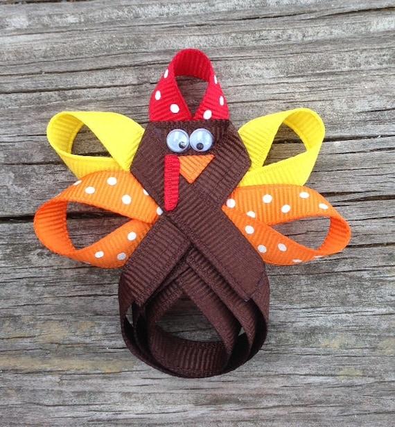 Turkey Hair Clip, Thanksgiving Hair Clip, Turkey Hair Bow, Holiday Hair Clip, Brown Turkey Ribbon Hair Clip, Girls Hair Accessories