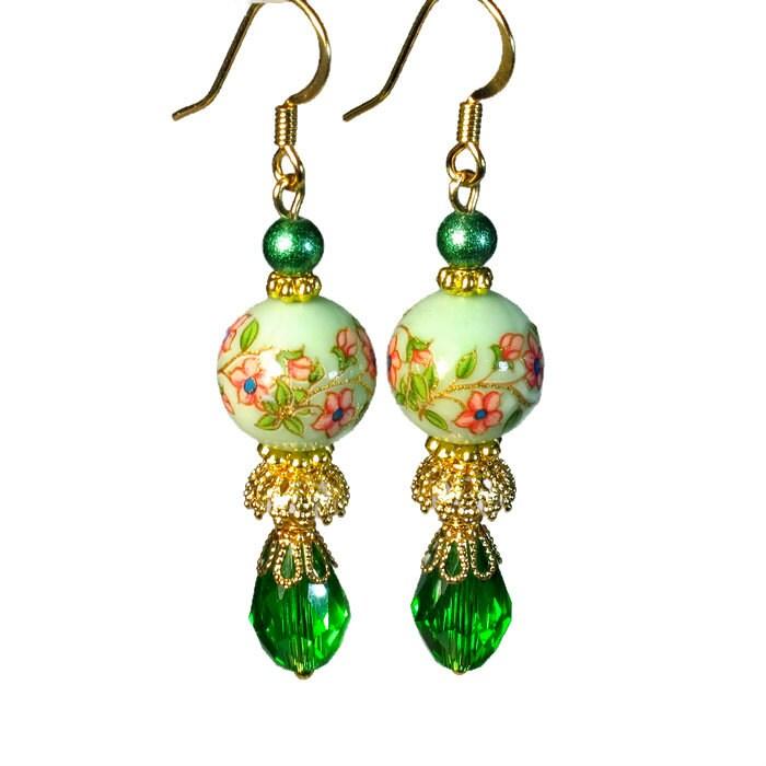 Spring Green Earrings Vintage Bead Dangles Handmade Jewelry