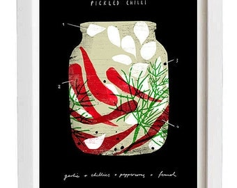 "Pickled Chillies - Foodie art print - 11""x15"" - archival fine art giclée print"