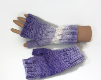 fingeless gloves hand knitted wristwarmers wool uk seller
