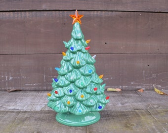 Vintage Style Ceramic Christmas Tree with Lights - Handpainted Bright Wintergreen Lights - Shelf Style - Ready to Ship