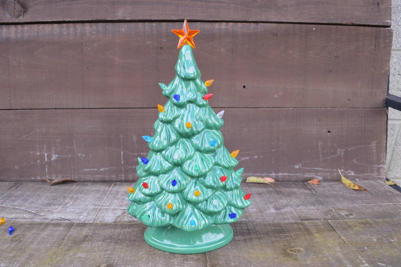 Vintage Style Ceramic Christmas Tree With Lights Handpainted