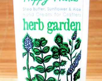 Herb Garden Scented Hand Cream for Knitters - 4oz Medium HAPPY HANDS for Knitters Shea Butter Hand Lotion