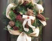 Burlap Christmas Wreath, Christmas Burlap Wreath, Christmas Wreath, Rooster Wreath, Winter Wreath, Burlap and Berries