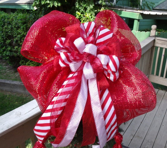 Items similar to Big Bow Topper, Candy Cane Christmas Tree ...