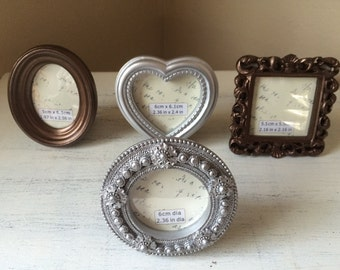 SALE Mini Frames Table Numbers Wedding Shower Silver Bronze Heart Square Circle