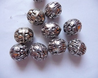 Beads, Silver Plated, Pewter, Round, 10x9mm, Scroll Design, Hefty, Pkg Of 10