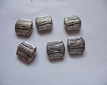 Bead, Blue Moon Beads, Antiqued Silver Finished, Pewter, Zinc Based Alloy, 9x8mm, Textured, Flat Square, Pkg Of 8