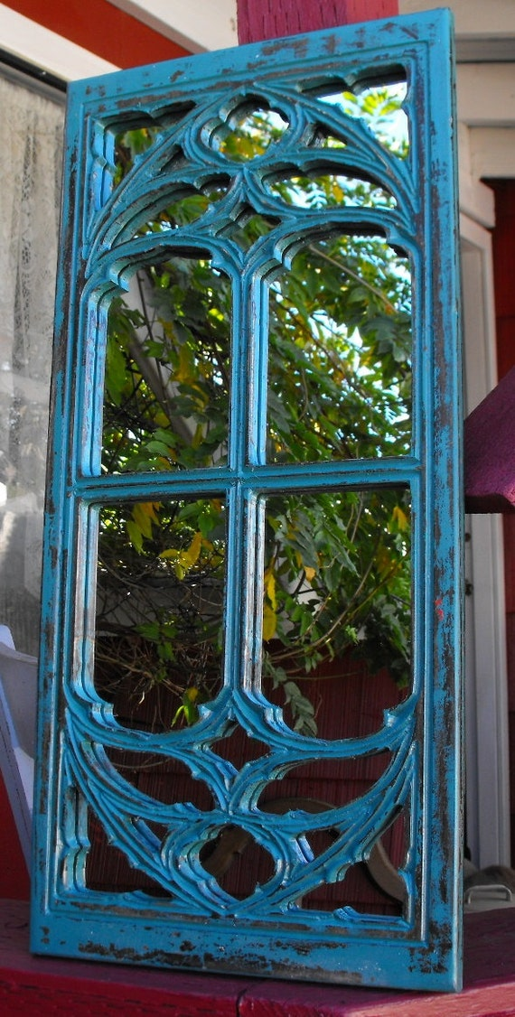 Gothic window frame mirror teal for Teal framed mirror
