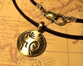 Free Shipping, Leather Necklace, Kokopelli Symbol, Mens Necklace, Mens Jewelry, Mens Gift, Pendant, Distresed Cord
