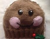 "Gingerbread Boy - a ""Little People""  hand knit beanie"