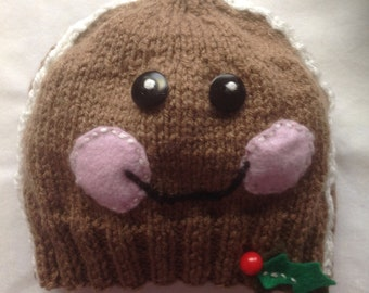"Gingerbread Boy - a ""Little People""  hand knit beanie"