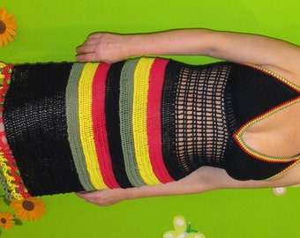 Crochet halter  dress for lovers of reggae