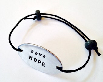have HOPE: Hand Stamped Adjustable Bracelet for Breast Cancer Awareness Month