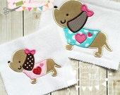 Puppy Heart Applique Machine Embroidery Design INSTANT DOWNLOAD