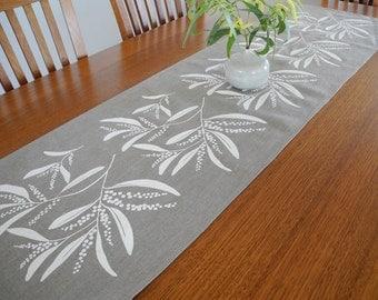 Linen Table Runner Australian Wattle Design Hand Screen Printed White&Natural