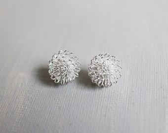 Dandelion Earrings. silver dandelion post earrings. small dandelion