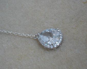 Add On Backdrop, Bold Swarovski Teardrop Crystal,Back Drop Add On,Back Drop To Add To Your Necklace,Back Drop Bridal Necklace