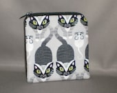 Coin Purse - Gift Card Holder - Card Case -Small Padded Zippered Pouch - Mini Wallet - Cat and Mouse