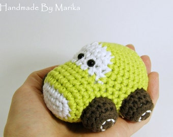 Amigurumi Car Baby Toy Rattle - organic cotton - pistachio and brown
