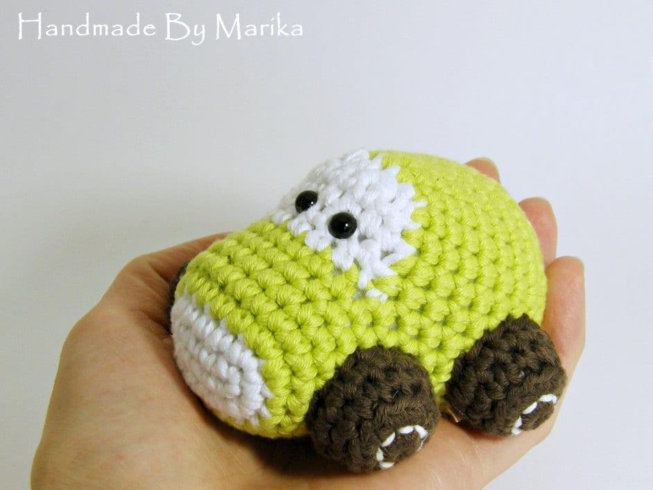 Amigurumi Toys For Babies : Amigurumi Car Baby Toy Rattle organic cotton pistachio and