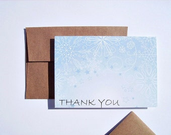 Snowflake Thank You Notes - Seasonal Snowflake Stationery, Winter Holiday Thank You Card Set, White Dusty Blue Festive Thank You Note Cards