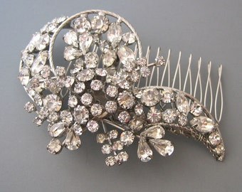 Vintage Bridal Hair Comb - Large Floral Crystal Hair Comb - OOAK Hair Piece