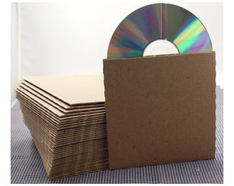Set of 40 CD sleeves -  natural Kraft brown, 100% recycled & eco-friendly  - DVD, CD wedding favors, photography packaging