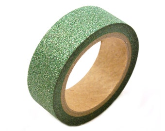 GLITTER washi tape -holiday green glitter masking tape- 10 meters