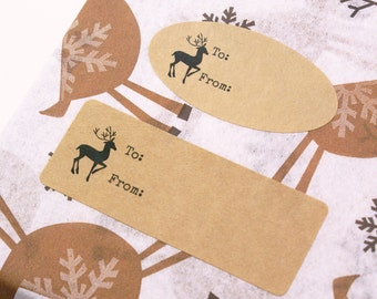 Christmas Winter REINDEER Kraft Brown Stickers with TO & FROM - for gift tags, labels, holiday presents
