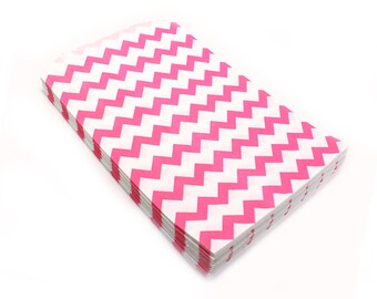20 PINK Chevron party favor bags, food safe pink chevron bags 5 x 7.5 - birthday party favor bags, wedding favors bags, gift bags