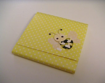 Yellow and White Polka Dot Bumble Bee Sticky Notes Pad