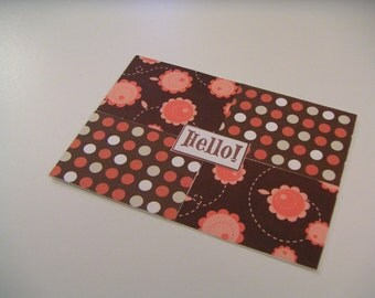 Brown and Coral Polka Dot and Flower One-of-a-Kind Handmade Any Occasion Stamped Greeting Card - Hello
