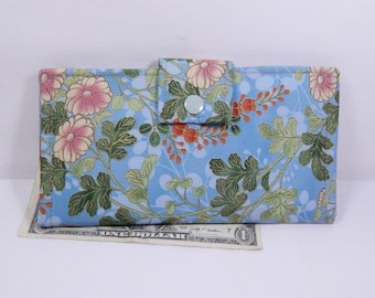 Womens Wallet, Blue Floral Wallet, Bifold Clutch Wallet, Made in USA, Vegan, Asian