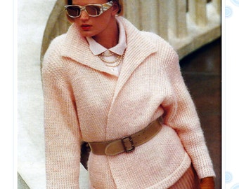 80s sweater pattern - knitting pattern - PDF file - instant download - oversized wrap jacket -