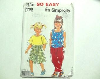 Simplicity 7709 Children's Separates Pants Top Shirt Sewing Pattern