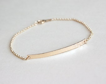 Personalized bar bracelet with initials in 14K gold filled, Hammered or Smooth, Custom bracelet, Gold bracelet, Simple name plate bracelet