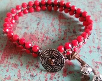 Bohemian red coral woven bracelet