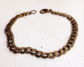 Curb Chain Bracelet / Antique Brass / Pick Your Length / Perfect for Charms