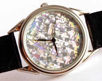 Watch hologram, quartz watch, mens watches, womens watches ladies watches blue hologram watch,