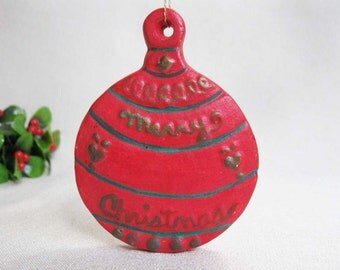 "Vintage ""Merry Christmas"" Ornament, Hand Painted Plaster of Paris, Christmas Holiday Ornament Decoration"
