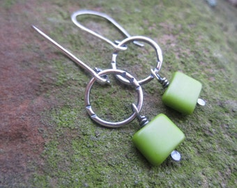 INVENTORY REDUCTION SALE  - Sterling Silver  and  Green Czech glass Earrings