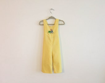vintage yellow handmade embroidered peter rabbit baby overalls jumper 3-9 months
