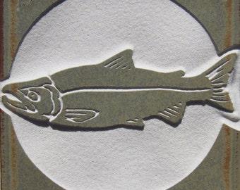 SALE 4x4 Pink Salmon - Etched Porcelain Tile - SRA