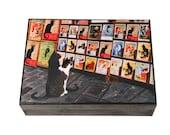 Le Chat Noir Wooden Keepsake Box, Large, Wooden, Paris Decor, Paris Bedroom Decor, Memory Box, Cat Memorial, Deborah Julian